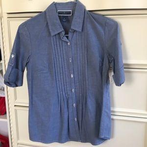 NWT Karen Scott chambray button down shirt